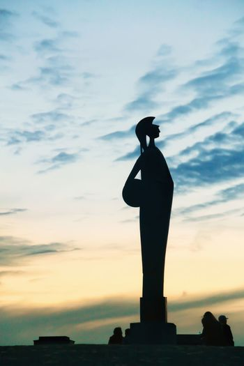 Athene statue Athens Statue Sky Silhouette Statue Human Representation Sculpture Cloud - Sky Representation Sunset Nature Low Angle View History Memorial Dusk Outdoors