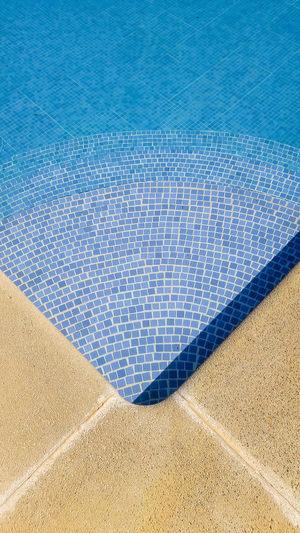 Hot Steps Blue Corner Day High Angle View Nature No People Outdoors Pattern Poolside Summer Swimming Pool Tiles Vacations Warm Water Wet