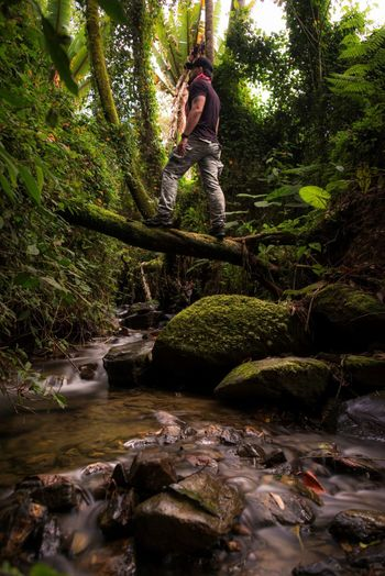 Lost In The Landscape Adventure Beauty In Nature Casual Clothing Day Forest Full Length Growth Lifestyles Moss Motion Nature One Person Outdoors People Real People Tree Water Waterfall Young Adult Perspectives On Nature See The Light