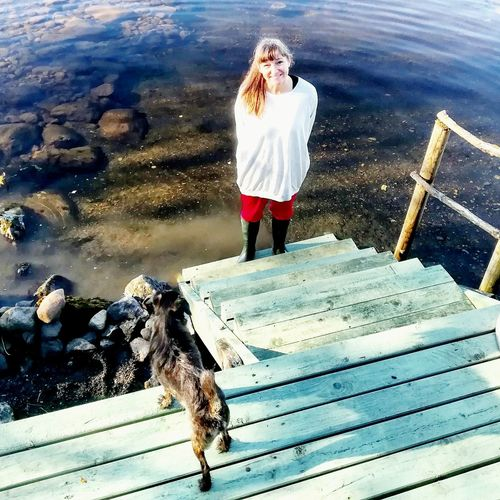 EyeEm Full Length One Person Standing Day Outdoors Real People Water Nature People Nature High Angle View Pet Life  Dog Lakeshore Carbinlife Scandinavianliving Norway Recharging Inspiration Real Life Scandinavianlifestyle Love Yourself Inner Power