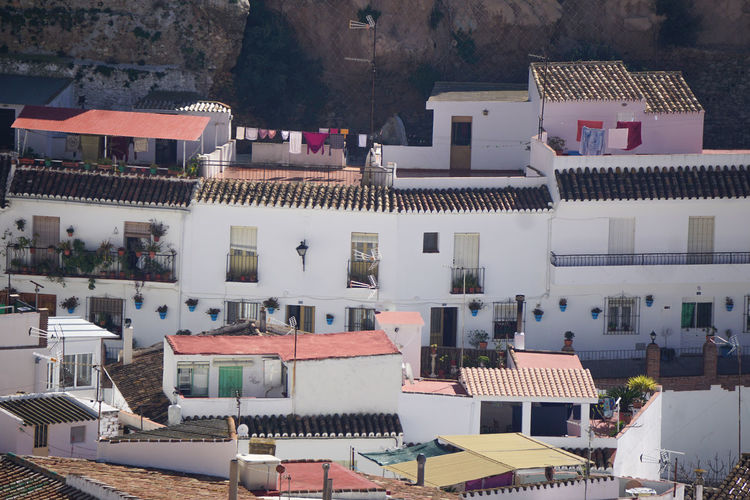 Arrival view of houses in mijas, andalusia