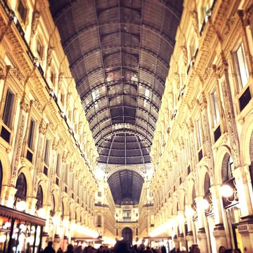 Beautifully Organized City Architecture Illuminated Arch Large Group Of People Day Italy Milan Travel Destinations milano Cultures