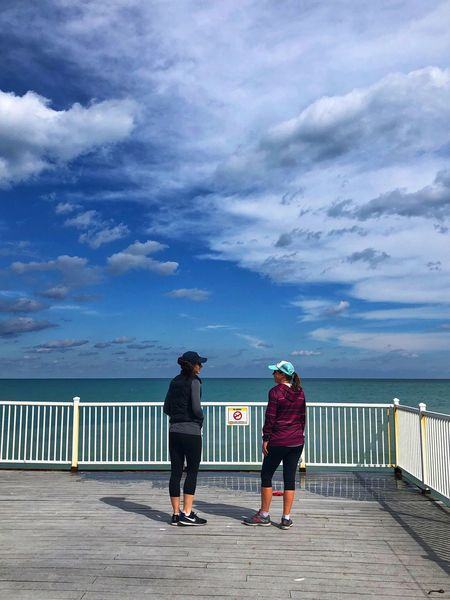 Women by the water Full Length Cloud - Sky Real People Sky Two People Men Lifestyles Rear View Nature Railing Women Leisure Activity Togetherness Water Sea People Casual Clothing Adult Standing Day