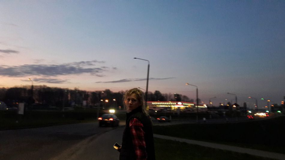 Sky Night One Person Outdoors City Adult Illuminated Adults Only Portrait Looking At Camera Road People One Woman Only Only Women Young Adult