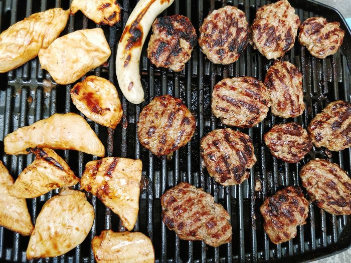 Full Frame Shot Of Meat On Barbecue Grill