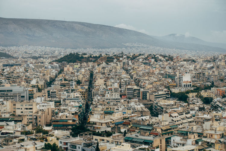 High angle view of athens greece
