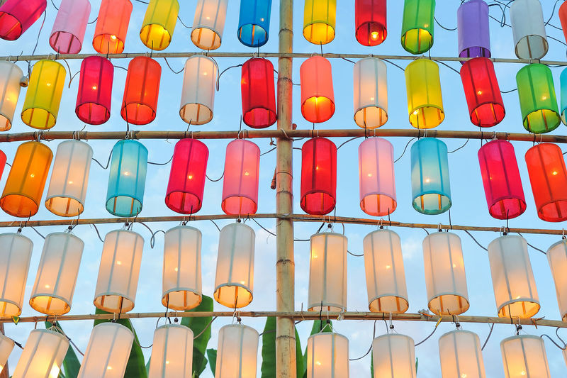 Full frame shot of colorful lanterns against sky during sunset