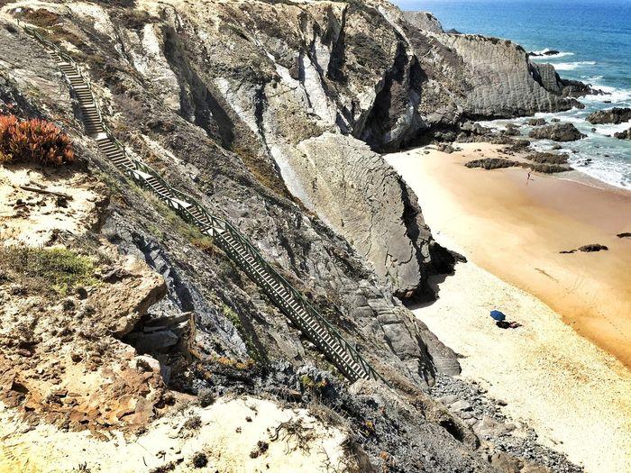 Some Steps Downstairs to reach the Beach Zambujeira Do Mar Alentejo Costa Vicentina Rota Vicentina Cliffs Portugaligers Portugal_lovers