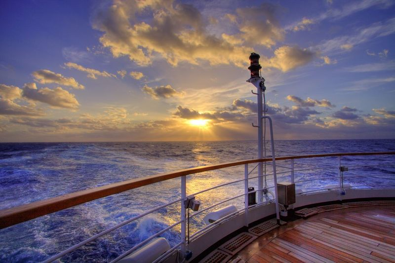 Cruise Sky Water Sea Sunset Cloud - Sky Railing Beauty In Nature Nautical Vessel Tranquility Outdoors Horizon Over Water First Eyeem Photo