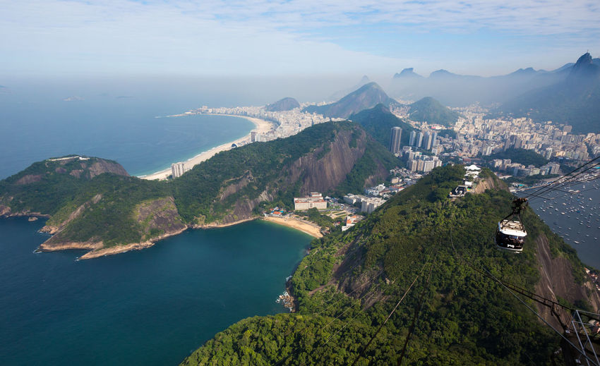 Aerial View Beauty In Nature Cable Car Cliff Coastline Composition Copacabana Exploring Mountain Mountain Range Perspective Rio De Janeiro Rock Rocky Scenics Top Perspective Trip Water