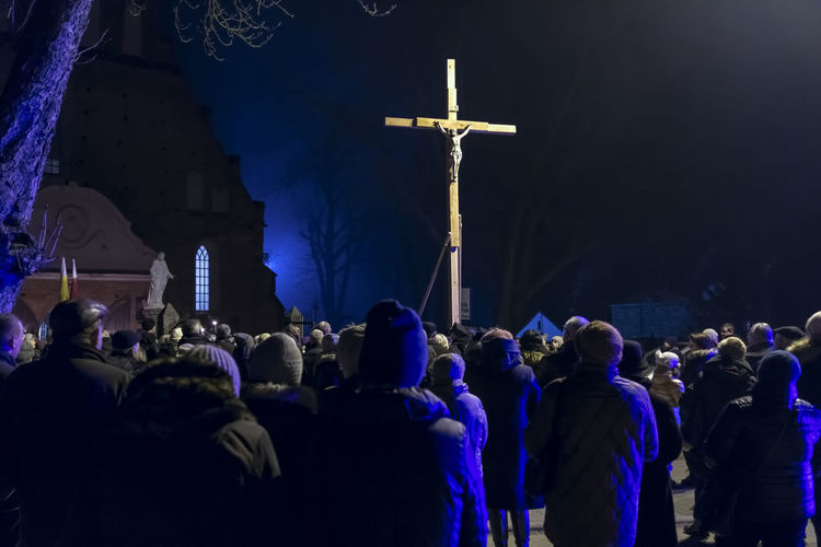 Christianity Church City Cross Easter Good Friday Jesus Christ Spirituality Belief Catholics Celebration Event Crowd Lent Night Prayers Real People Religion Religious  Street Traditional Via Dolorosa Way Of The Cross