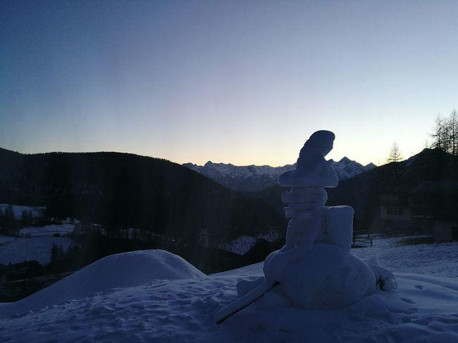 Mountain Beauty In Nature Nature Winter Befana Snow Sculpture Tramonto Sunset Chamois Valle D'aosta