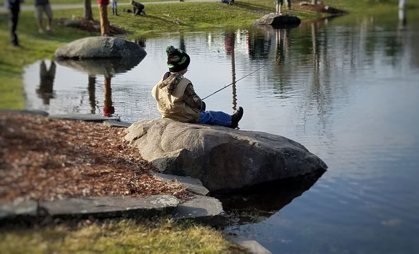 Water Reflection Occupation Outdoors Day Lake Working Nature No People Mammal Fishing Reflection Lake Tranquility