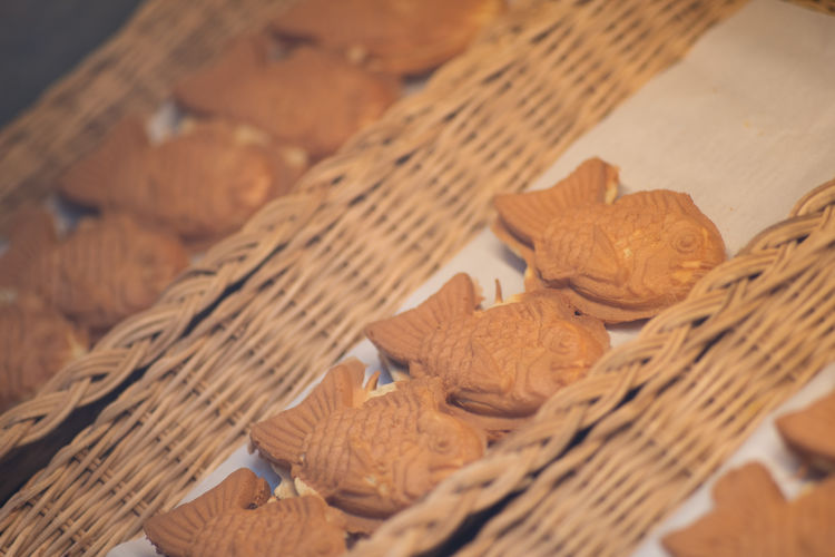 High angle view of bread in wicker basket