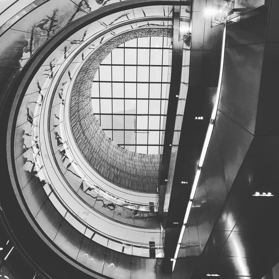 Architecture Built Structure Indoors  Railing Glass - Material Design Modern Spiral Repetition Architectural Feature Curve Day Diminishing Perspective Skylight Coil Geometric Shape Concentric Building Story No People Man Made Structure