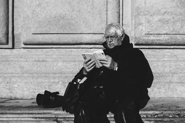 Reading time Reading Old Man Leisure Activity Sunlight Sunbathing
