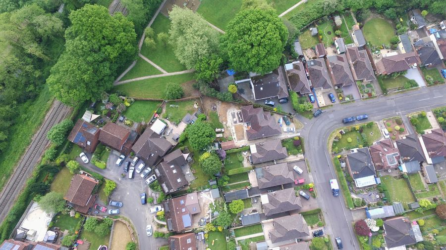 Looking Down Tree Aerial View Above High Angle View Architecture Building Exterior Growing Residential District Residential Structure Residential Building TOWNSCAPE Building Tiled Roof  Exterior