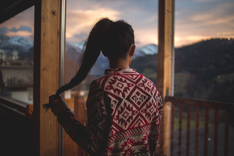 letting your thoughts wander Brown Clouds Enjoying The View Girl Hair Mountains Sky Sunset View Wood The Week On EyeEm Editor's Picks