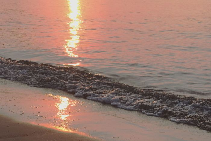 Water Sunset Sea Nature Beauty In Nature Beach Reflection No People Outdoors Sand Wave