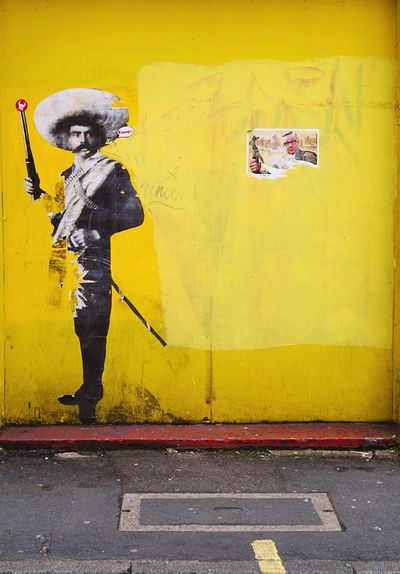 Yellow One Person Standing Outdoors City Men Urban Façade Art Sambrero Wall Wall Art Walking Around The City  Taking Photos Walking Around Travel Photography Taking Pictures ArtWork Optic From Where I Stand Boardwalk Redhead Red Lines Yellow Wall Somwhere