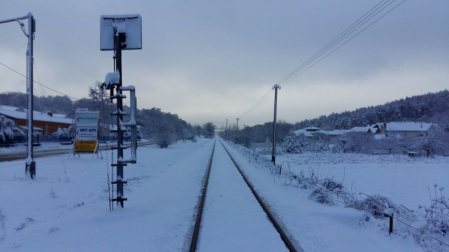 Railroad tracks on snow covered landscape