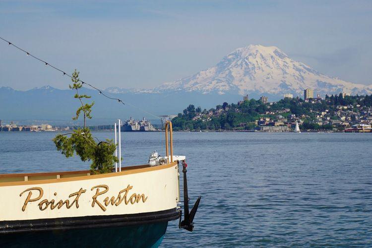 Mount Rainier Point Ruston Tacoma Pacific Northwest  Sony A6000 Mountain Water Mountain Range Nature Day Sea Scenics Beauty In Nature Tree Transportation Nautical Vessel Outdoors