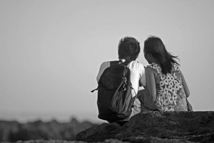 Two People Togetherness Couple - Relationship Positive Emotion Rear View Sky Sitting Leisure Activity Outdoors Love Adult Black And White #NotYourCliche Love Letter