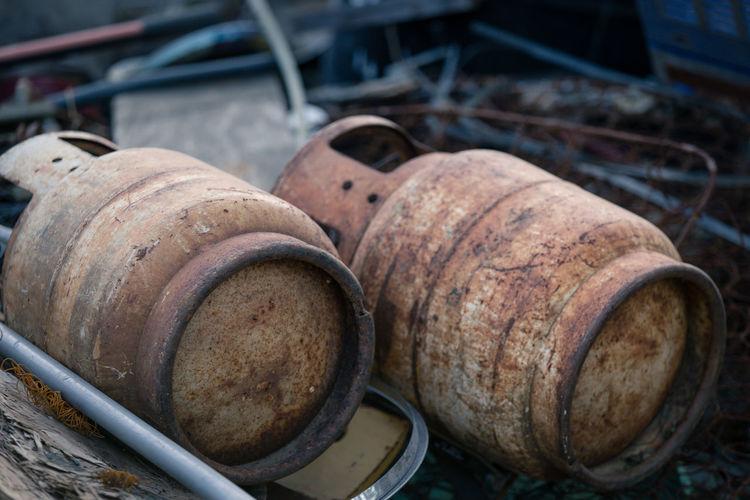 Abandoned cylinders on cart