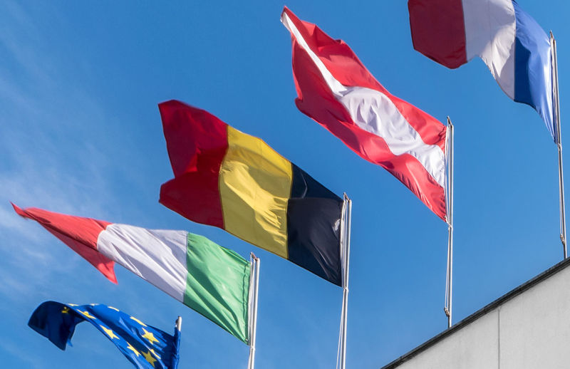 Europe Italy Switzerland Against Background Banner Blue City Clouds Community Countries Country Diversity Eu European  Flag Flags France Germany Global Gulf International Nation National Nations Patriotic Sky State States Symbol Symbolic  Union United Waving Wind World