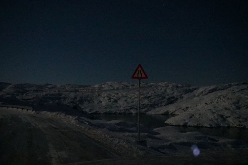 Ilulissat Night Photography Nightphotography Road Snow ❄ The Real Greenland This Is Greenland Mountain Range Night Road Sign Snow Snowcapped Mountain