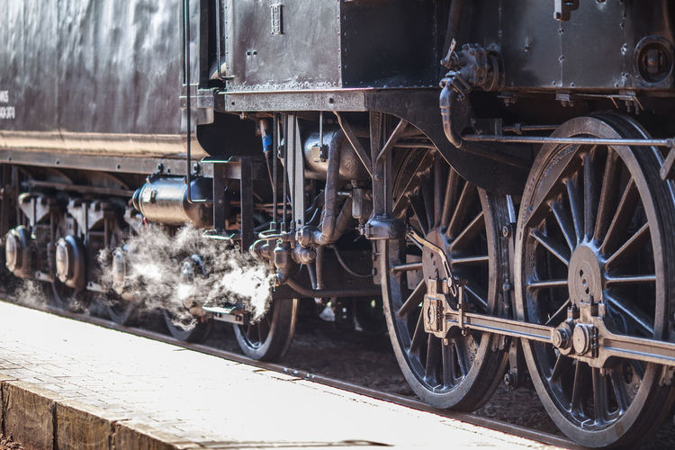 Steam Day Land Vehicle Metal Mode Of Transportation One Person Outdoors Public Transportation Rail Transportation Railroad Track Real People Shunting Yard Stationary Steam Locomotive Steam Train Track Train Train - Vehicle Transportation Travel Wheel