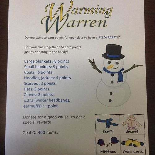 @fitzgeraldhighschool get ready for Warmingwarren !!! Get your donations together and get set to win this pizza party! Bring in coats, blankets, gloves, hats and scarves!!! Fitzgerald high school it's time to give back to our community and warm Warren!! Fitznation Clothes Clothing Clothesdrive GiveBackToTheCommunity