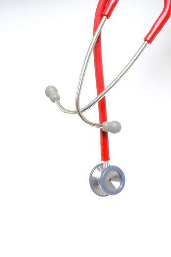 Close-Up Of Stethoscope On White Background