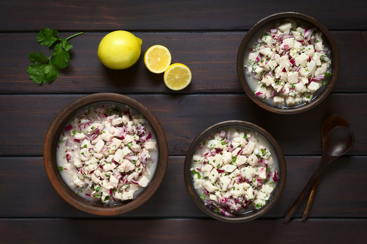 Chilean Ceviche made of Southern Ray's bream fish (lat. Brama Australis, Spanish Reineta), onion, garlic and cilantro marinated in lemon juice served in rustic bowls. Photographed overhead on dark wood with natural light. Brama Australis Chile Chilean  Homemade Meal Raw Seafood Snack Appetizer Cebiche Ceviche Chilean Food Cilantro Coriander Fish Food Fresh Fruit Lemon Lemon Juice Marinated Onion Raw Food Reineta Uncooked