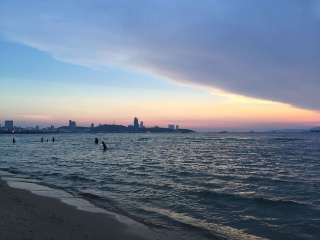Rainbow Sky in Pattaya Beach Thailand Seascape Sunset Walking On The Beach ShotoniPhone6s Iphone6plus Sky View Strangeclouds