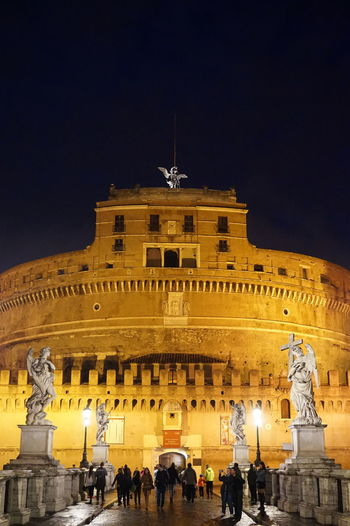 Castel Sant'Angelo, Rome Ancient City Ancient Rome Castel Sant'Angelo Church At Night  Churchporn Dramatic Lighting Italy Low Level Night Time Religion Rome