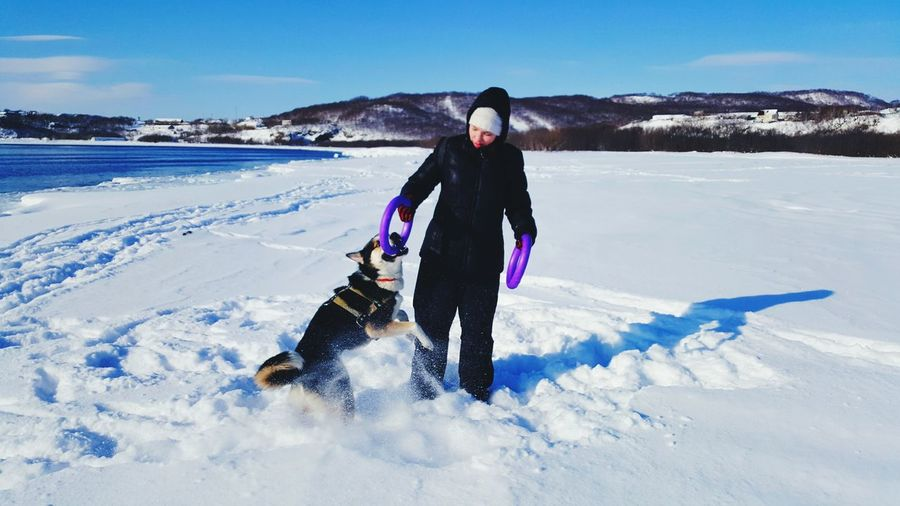Woman Playing With Husky On Deep Snow Against Sky