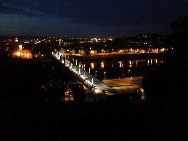 City Night City Sky Water River No People Outdoors Cityscape Built Structure Chain Bridge Night Lights Fromsky Beauty In City Kaunas Kaunas Old Town