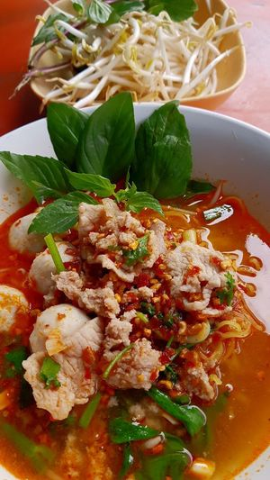 Noodle Soup , spipy thai noodle Chainese Food Pork Balls Pork Meat Red Color Noodles Spicy Thai Food Spicyfood Spicy Thai Noodles Savory Food Plate Bowl Close-up Food And Drink
