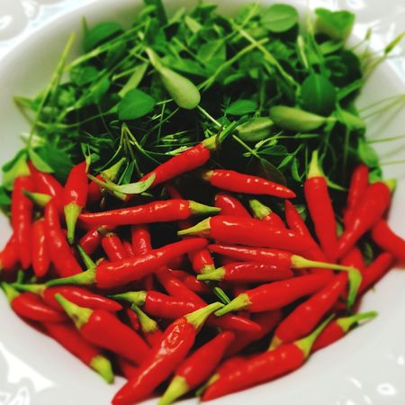 Watercress Chillies Red Chillies Red Vegetable Vegetarian Food Close-up Food And Drink Red Chili Pepper Chili Pepper Chili  Spice Salad Leaf Vegetable