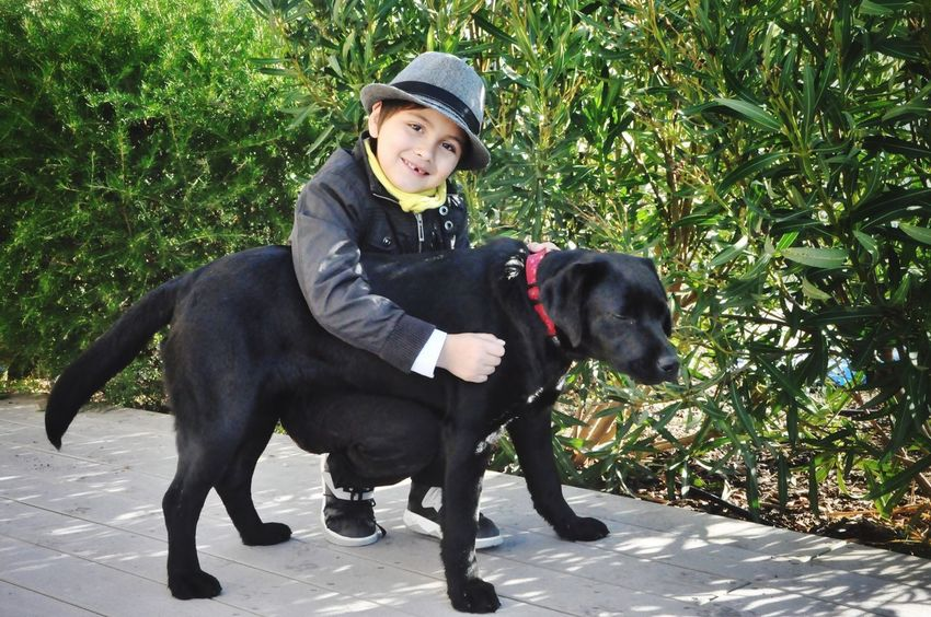Kids And Pets Kids And Dogs Looking At Camera Domestic Animals Dog Pets One Animal Mammal Outdoors Happiness Enfants Chiens