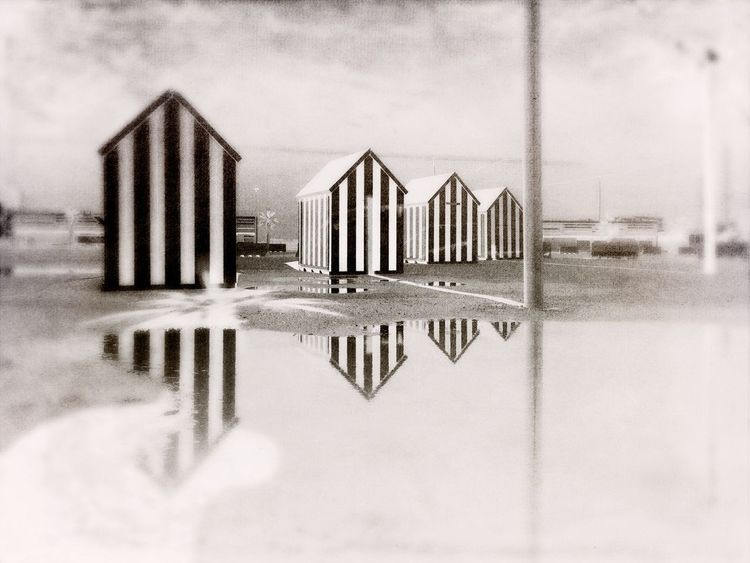 Beach Beach Huts Mediterranean  Sea Monochrome Reflections Reflections In The Water Water Vilanova I La Geltru Catalonia