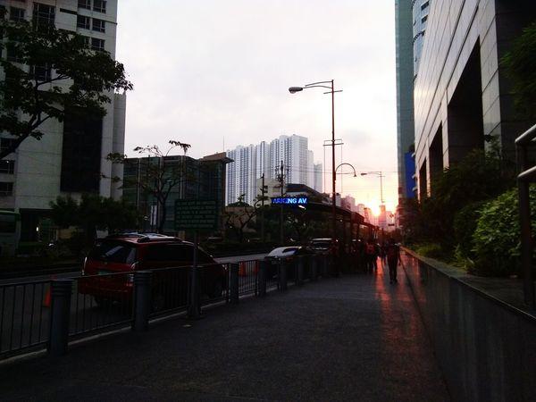 Sunrise at Ayala Makati Business District.