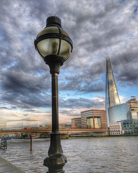 Theshard Architecture London Skyscraper Loves_london Igers_london Thames River Exploring Tall Thamespath Riverside Riversidewalk Window Lamp Brigde Clouds Cloudy HDR Hdr_pics Skyline Evening Afterwork
