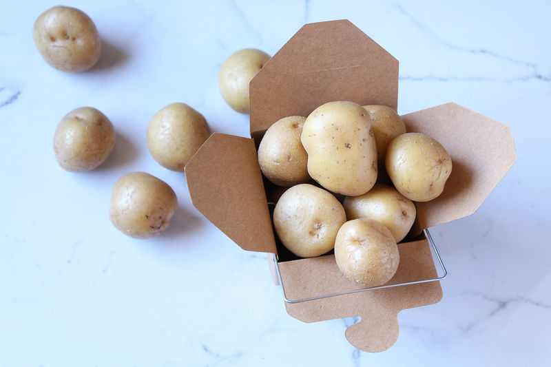 Potatoes Copy Space Backgrounds Carbohydrates Close-up Focus On Foreground Food Food And Drink Freshness Healthy Eating High Angle View Indoors  Potatoes Still Life Table White Background
