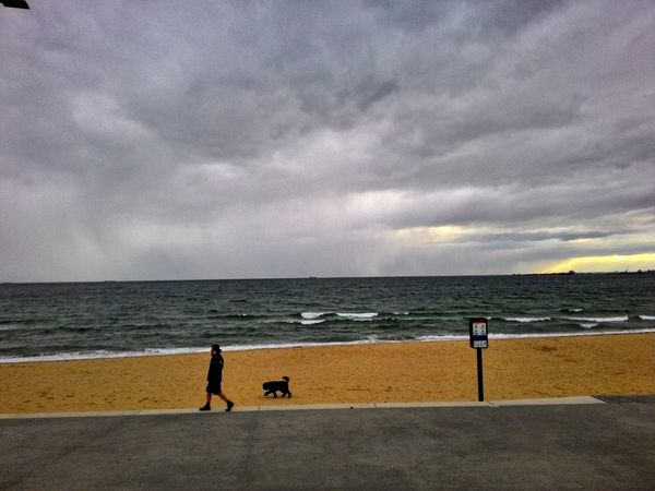 Stroll Strollingonthebeach Man And His Dog Beach Suburbs Retro Heavy Clouds Sea And Sky Calm Before The Storm Weather Atmosphere Showcase: February