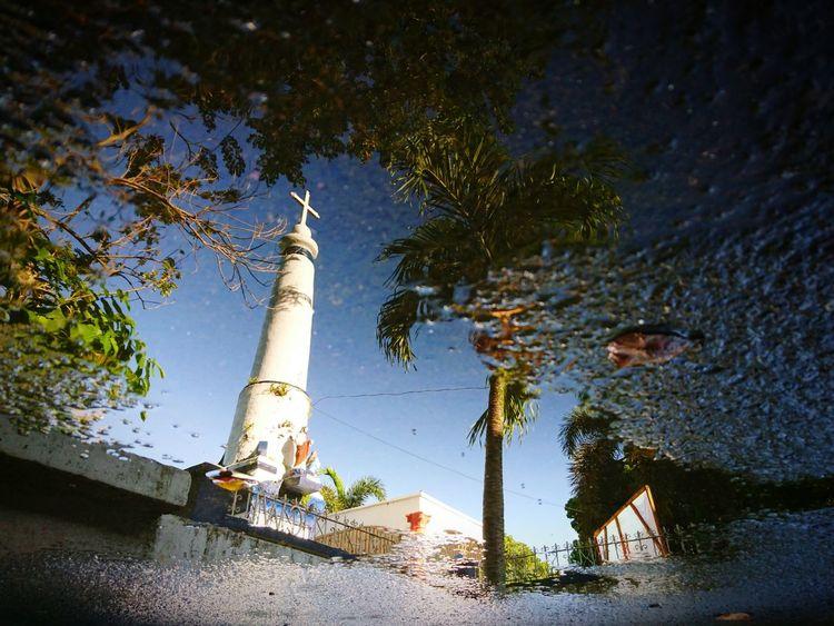 Dramatic Angles Tree Water Reflection Tower Spire  Day Outdoors Sky Tall - High No People Church Belltower Lenten Lentenseason Holy Week Spiritual Spiritual Place