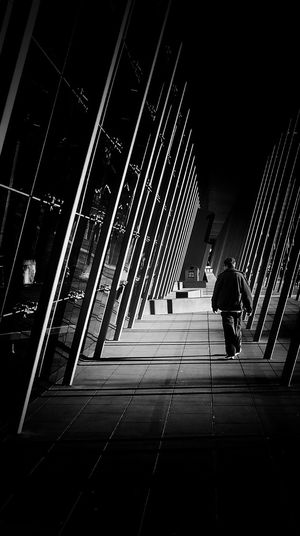 Streetphotography Architecture Modern Walking People City One Person Monochrome Blackandwhite Streetphoto_bw Alone In The City