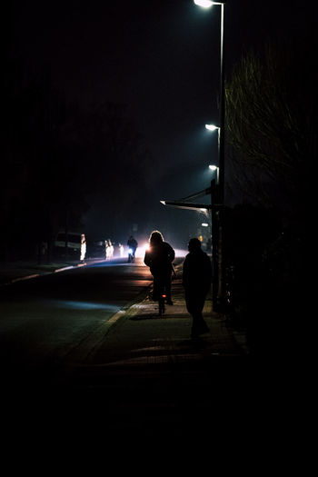 Rear view of silhouette people on illuminated street at night