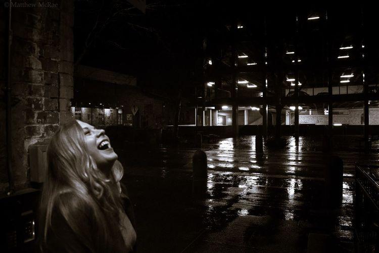 Laughing girl Taking Shelter